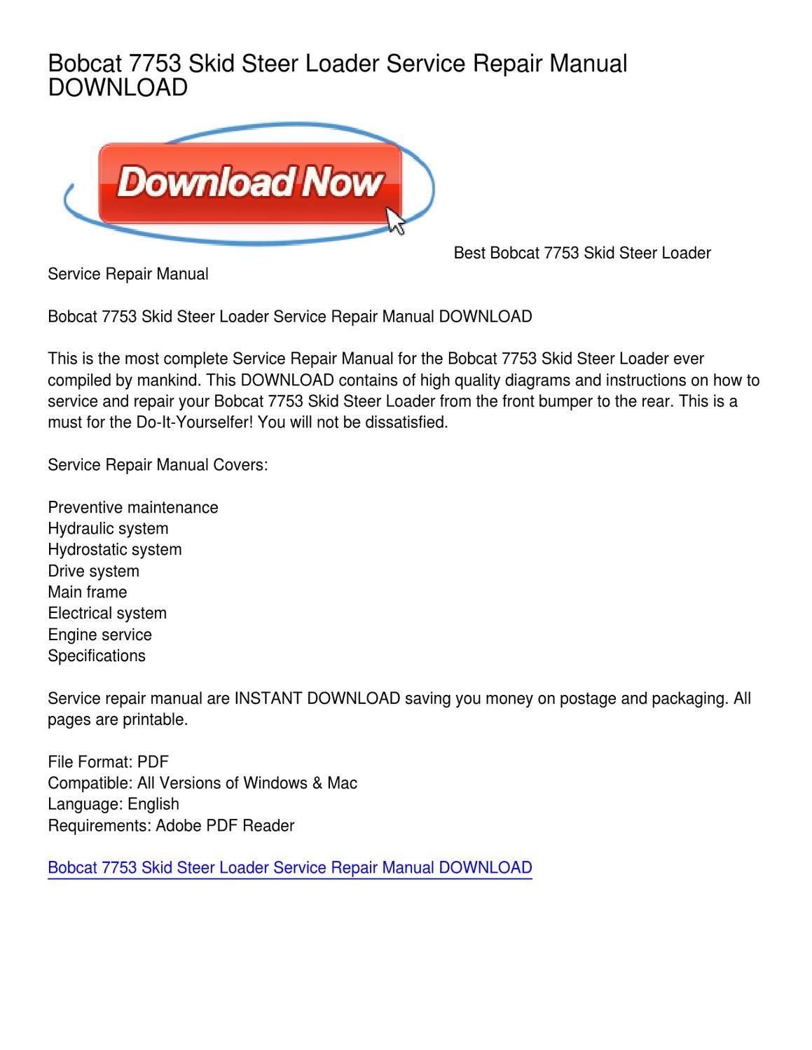 Bobcat 7753 Skid Steer Loader Service Repair Manual