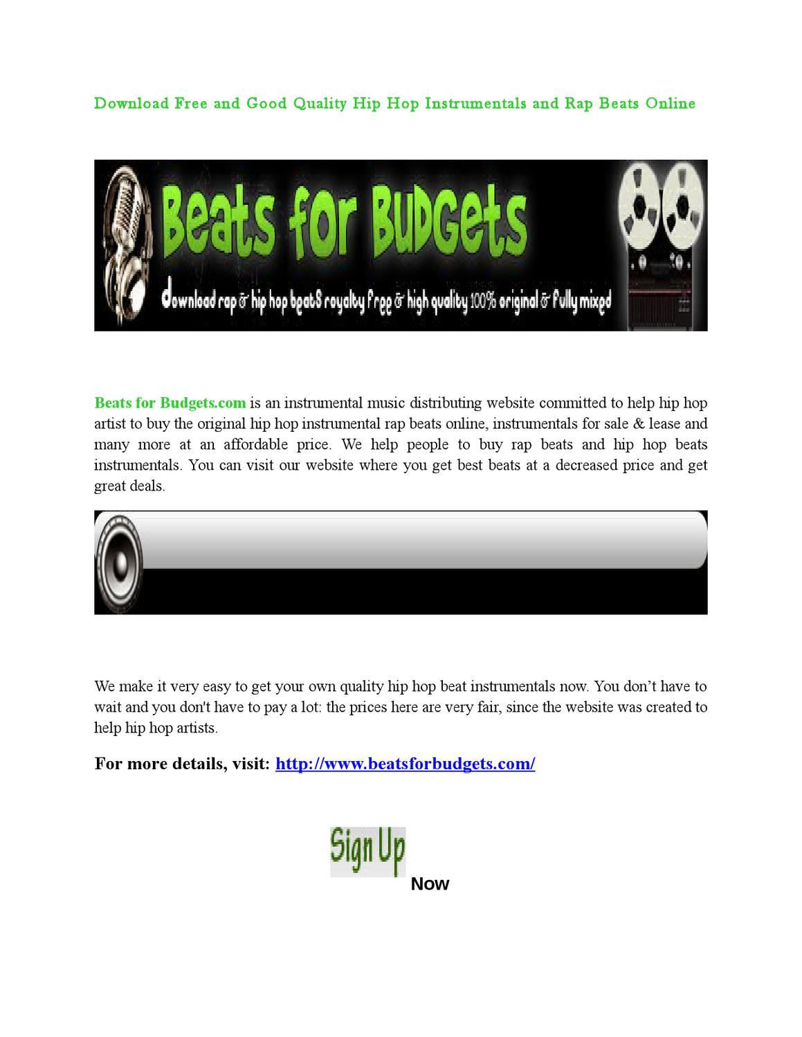 Download Free and Good Quality Hip Hop Instrumentals and Rap Beats Online