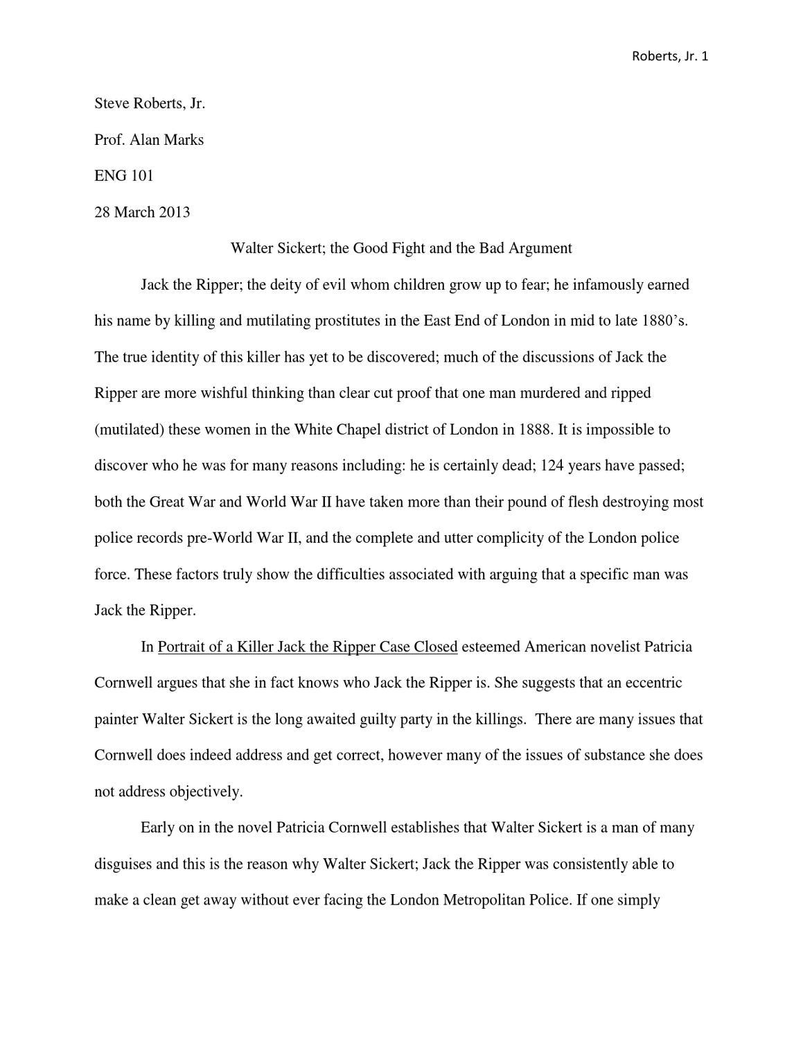 Essay jack the ripper