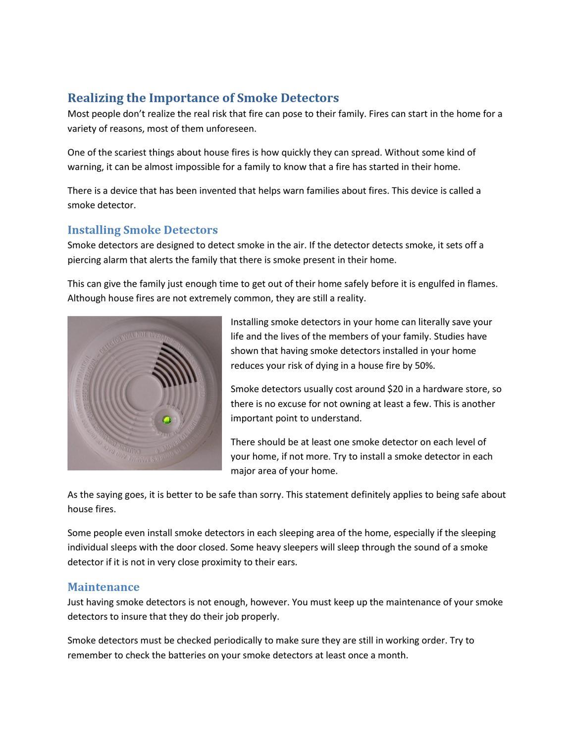 Realizing The Importance Of Smoke Detectors By Jimmy John Issuu