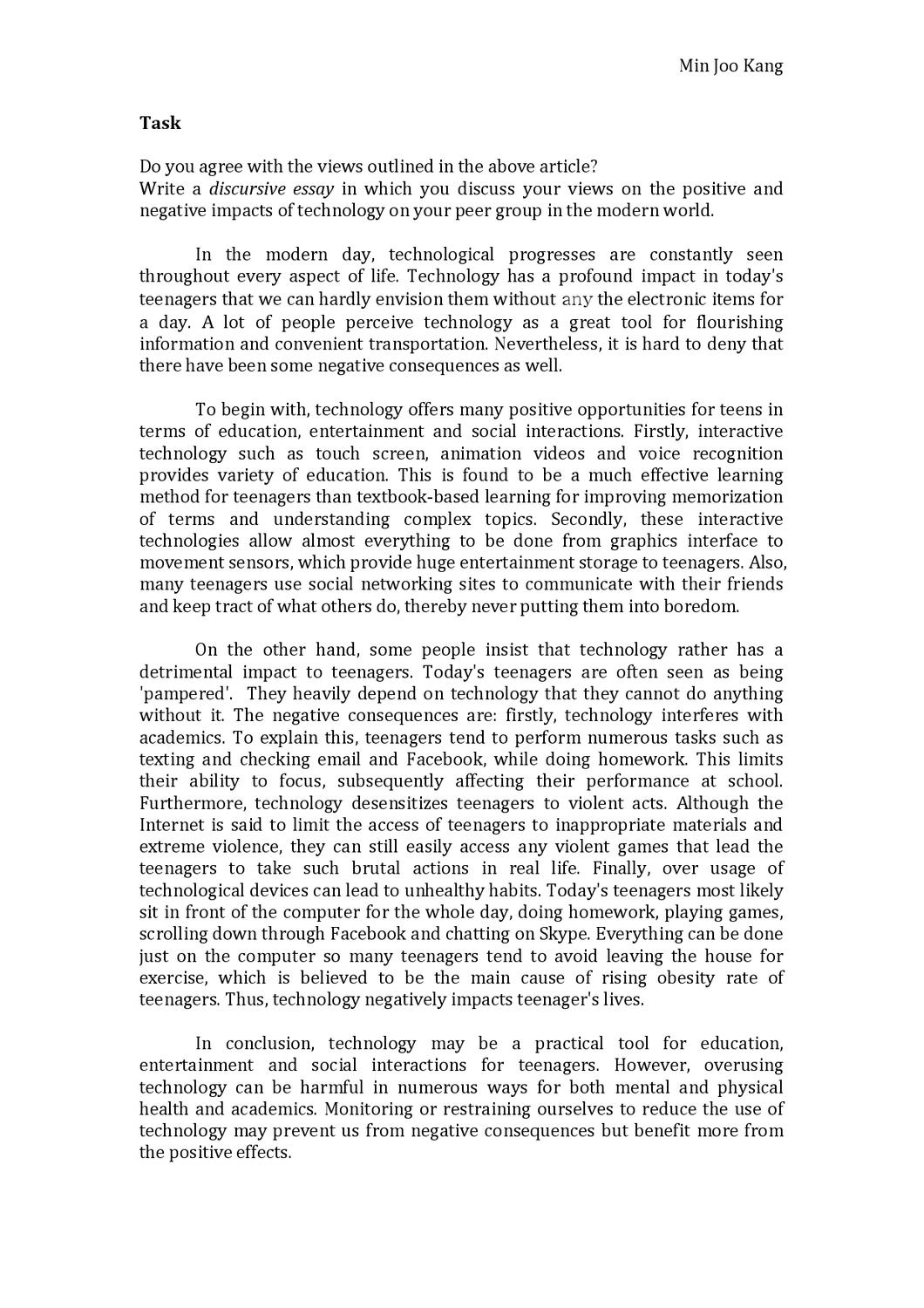 Example Thesis Statements For Essays  Thesis For A Persuasive Essay also Persuasive Essay Sample High School Technology Discursive Essay By Min Joo Kang  Issuu Sample Essay With Thesis Statement