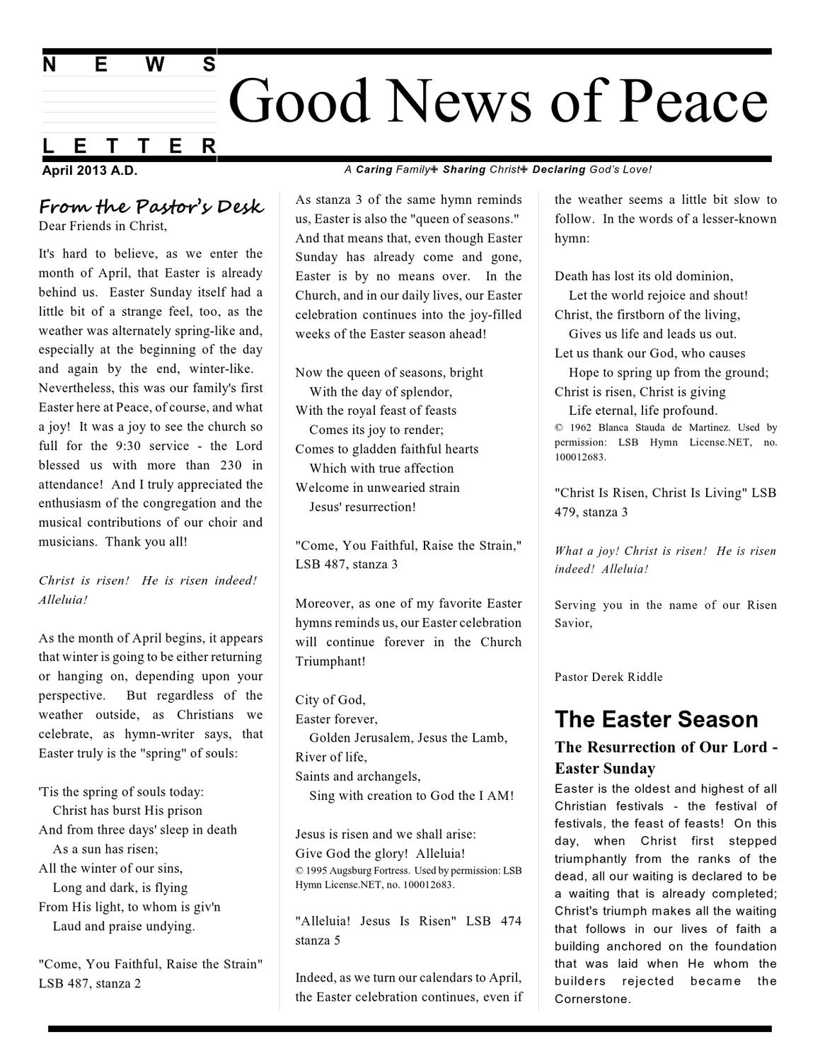 April 2013 Peace LCMS Newsletter by Rich Warwick - issuu