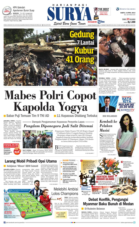 E Paper Surya Edisi 6 April 2013 By Harian Surya Issuu