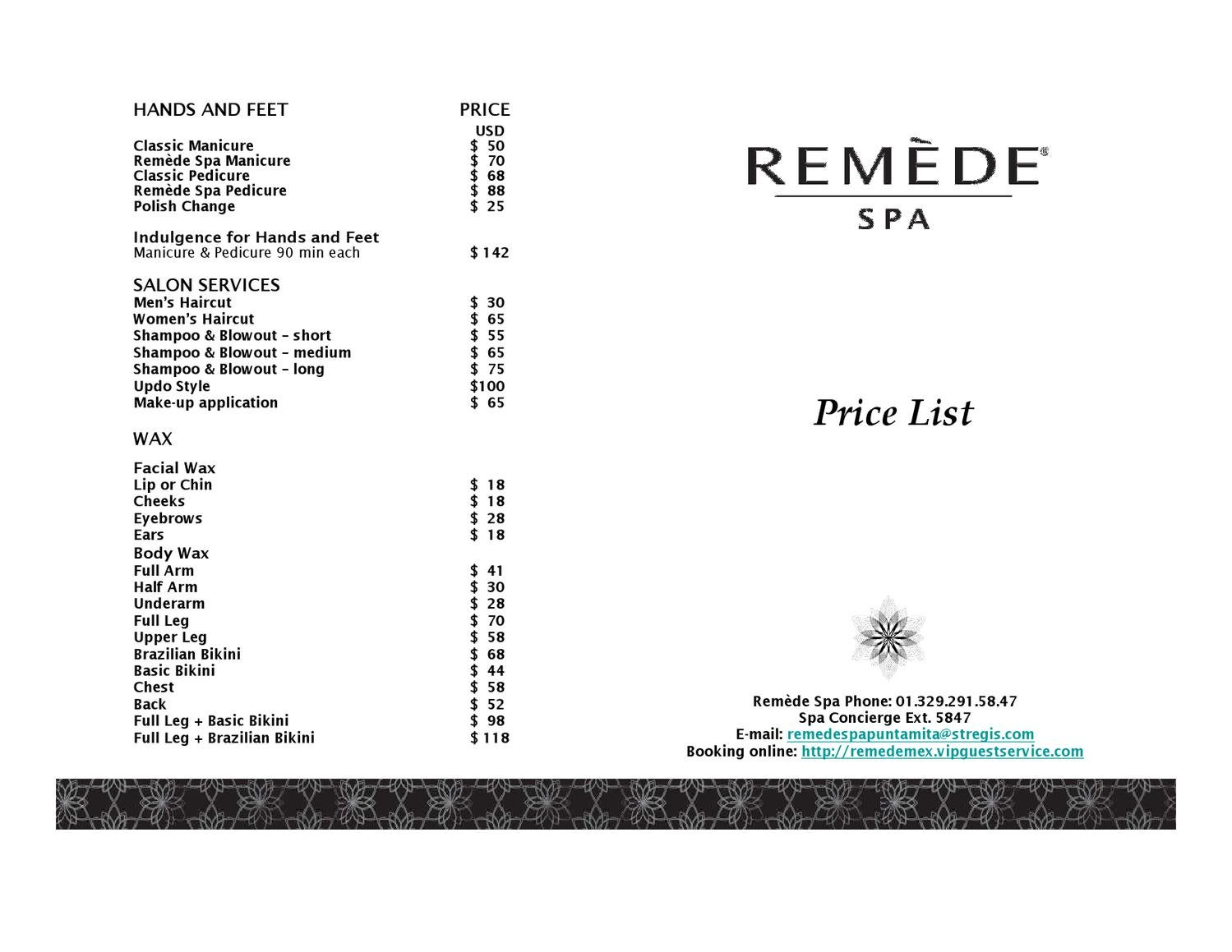 Remede Spa Price List By The St Regis Punta Mita Issuu