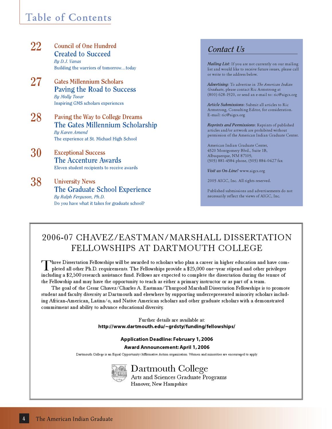 chavez/eastman/marshall dissertation fellowships - dartmouth college