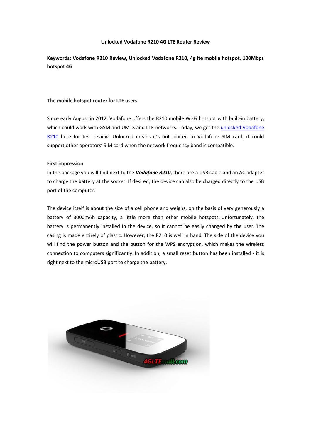Unlocked Vodafone R210 4G LTE Router Review by Lte Mall - issuu