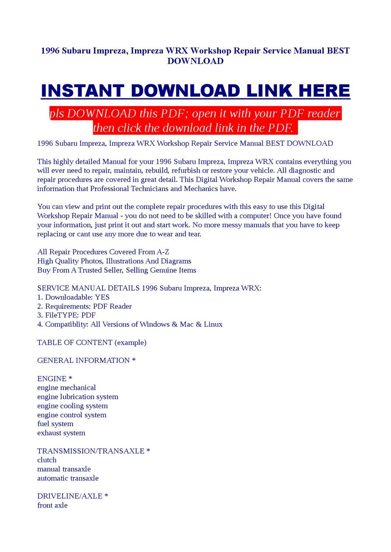 1996 Subaru Impreza Wrx Workshop Repair Service Manual Best Driveline Diagram Download By Jast Liy Issuu