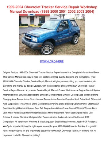 2003 Chevrolet Tracker Owners Manual Pdf