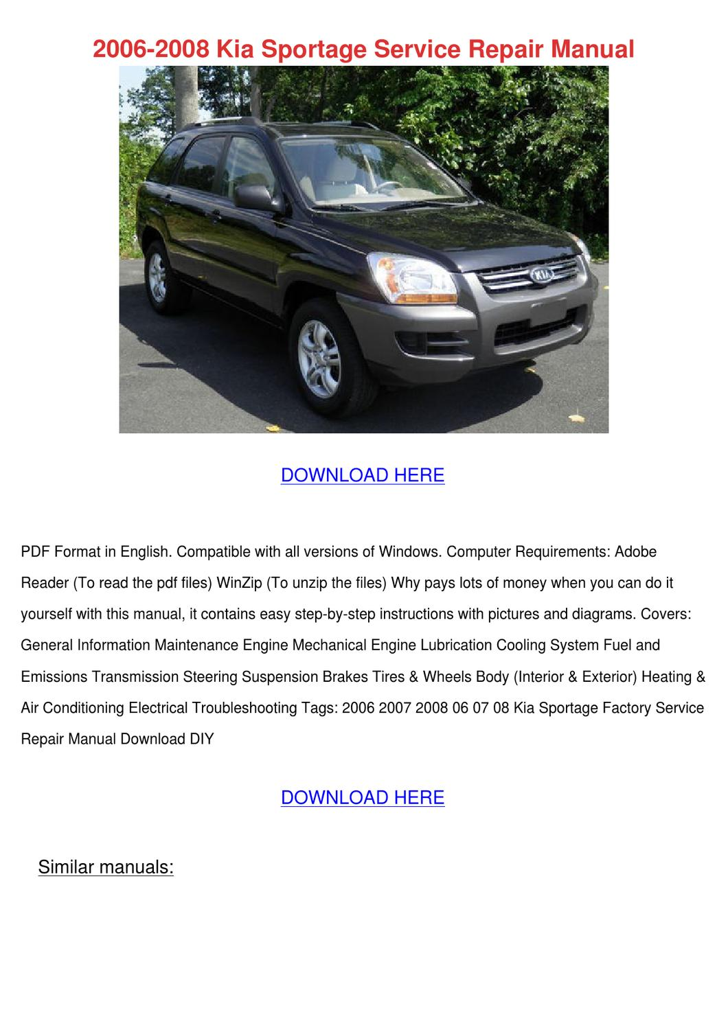 2006 2008 Kia Sportage Service Repair Manual By Doris L