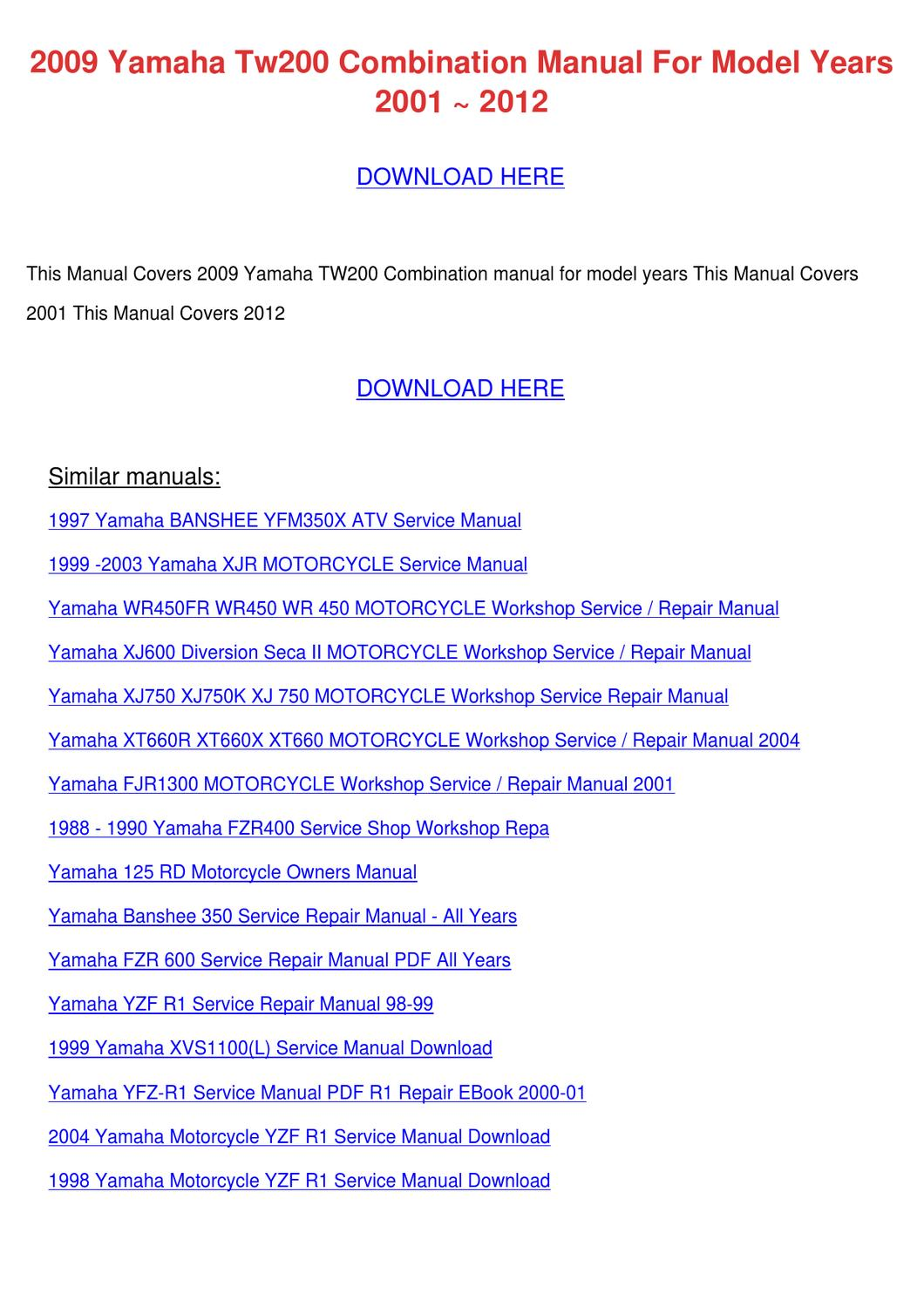 2009 Yamaha Tw200 Combination Manual For Mode By Doris L