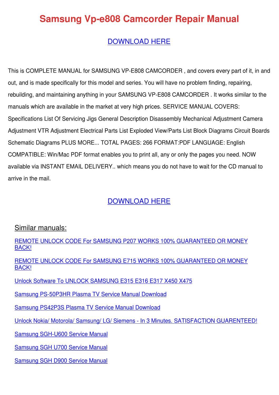 Samsung Vp E808 Camcorder Repair Manual By Doris L Issuu Tv Circuit Board Schematic