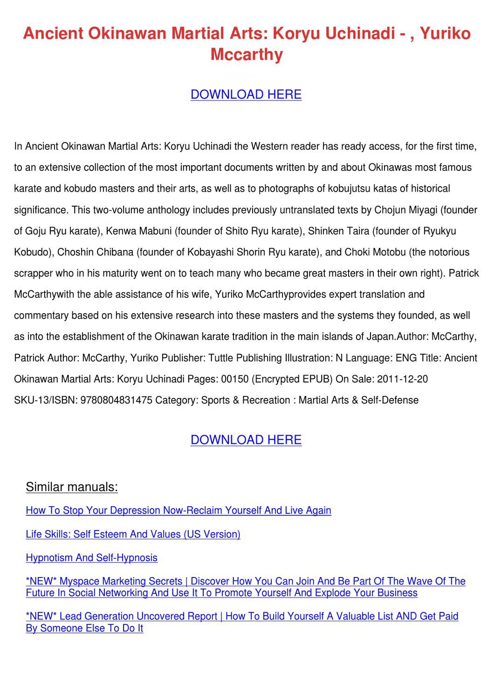 Ancient Okinawan Martial Arts Koryu Uchinadi By Marisol