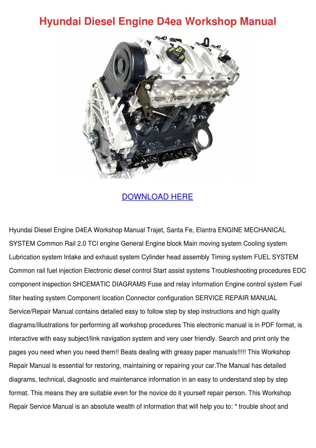 Hyundai Diesel Engine D4ea Workshop Manual By Marisol Spritzer Issuu Diagram Intake Area