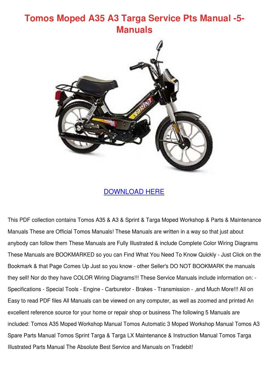 Tomos Moped A35 A3 Targa Service Pts Manual 5 by Marisol Spritzer ...
