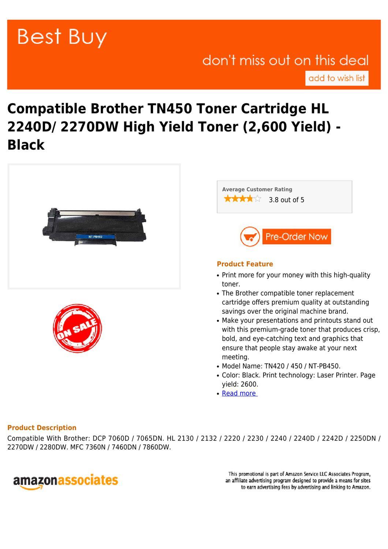 Best Buy Compatible Brother TN450 Toner Cartridge HL 2240D