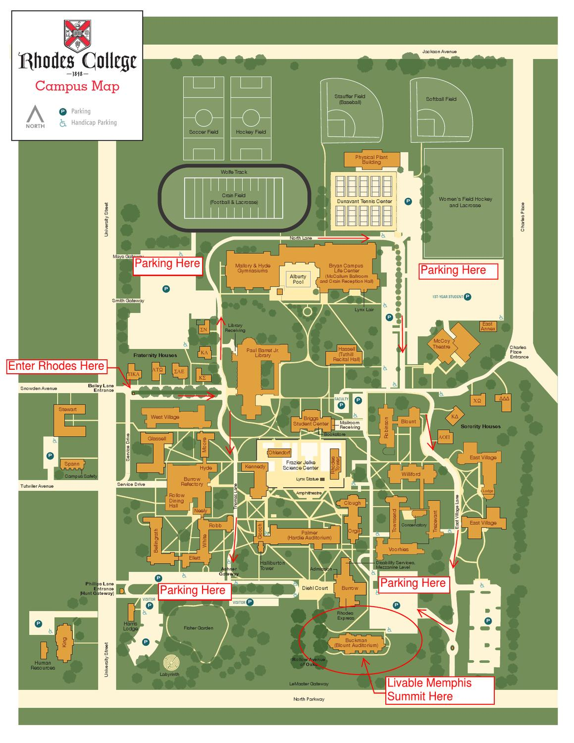 rhodes college campus map Rhodes College Campus Map And Directions By Livable Memphis Issuu rhodes college campus map