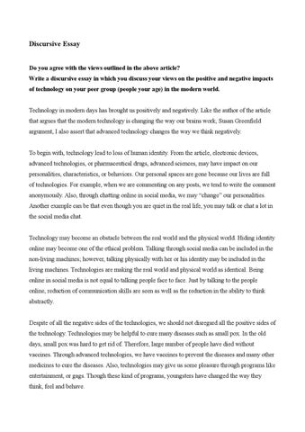 discursive writing sample essay