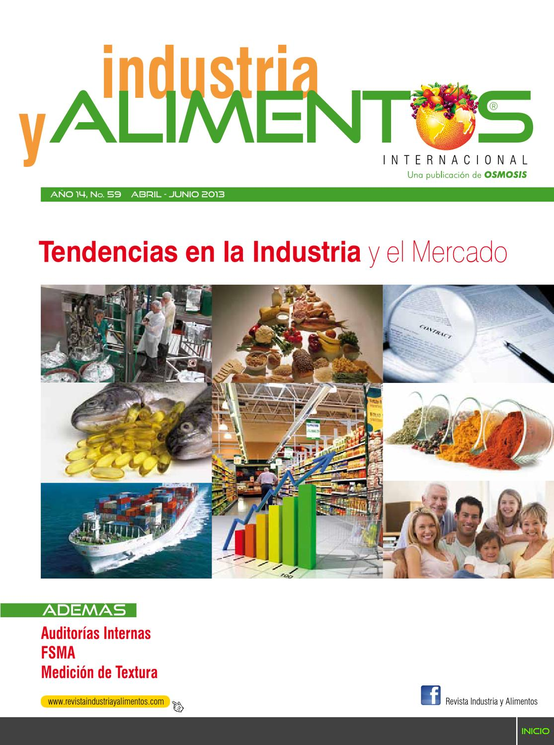 Revista industria y alimentos 59 by revista industria y for Manual de limpieza y desinfeccion en industria alimentaria