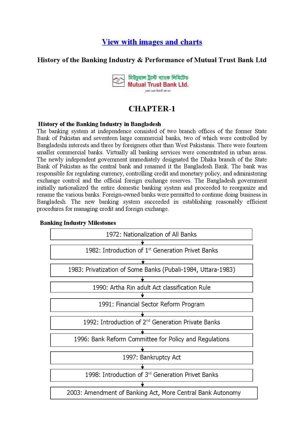 History of the Banking Industry & Performance of Mutual Trust Bank ...