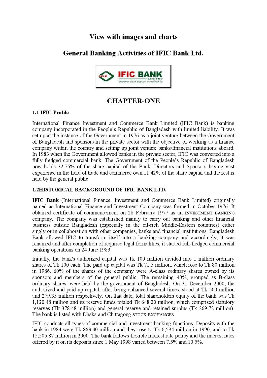 the internship report on ific bank