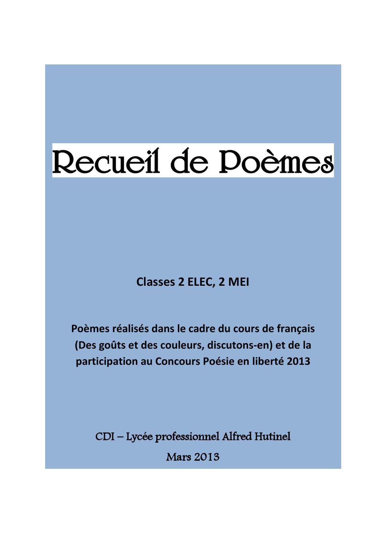 Recueil De Poèmes By Cdi Lycée Hutinel Issuu