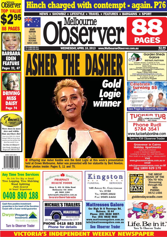 melbourne observer. 130410a. april 10, 2013. pages 1-16ash long