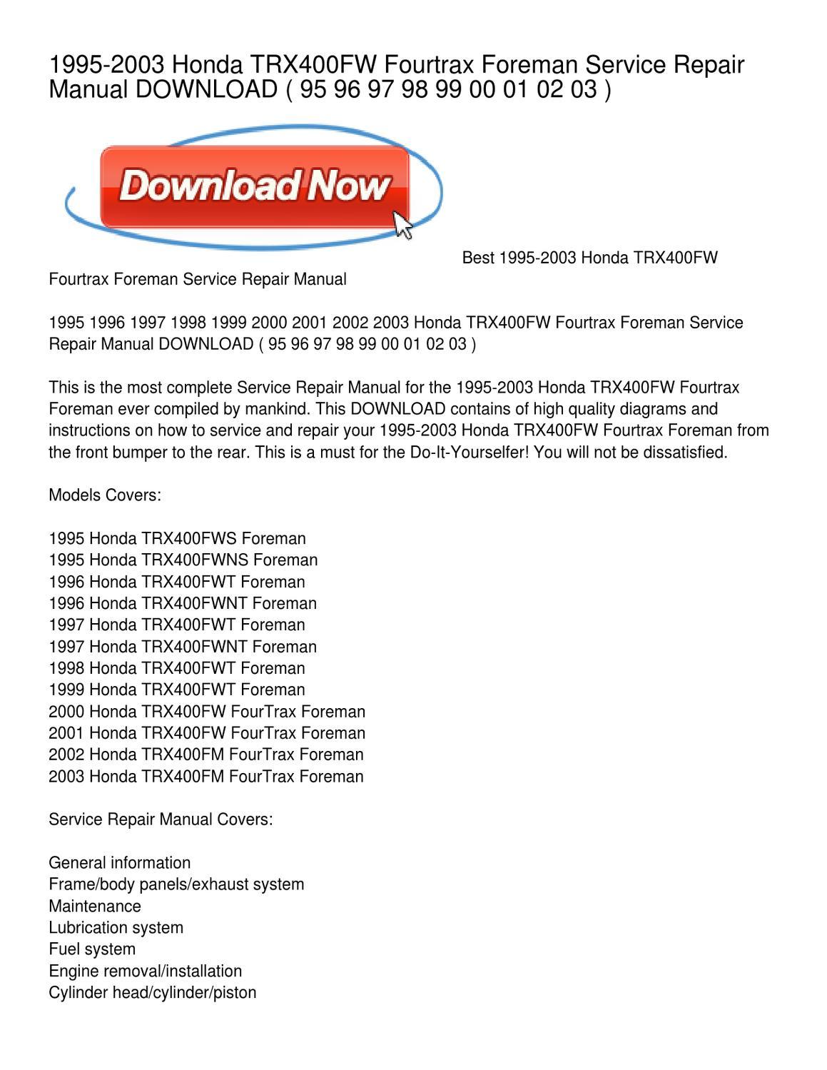 1995 2003 Honda Trx400fw Fourtrax Foreman Service Repair Manual 00 Wiring Diagram Download By Carlos Mccullough Issuu