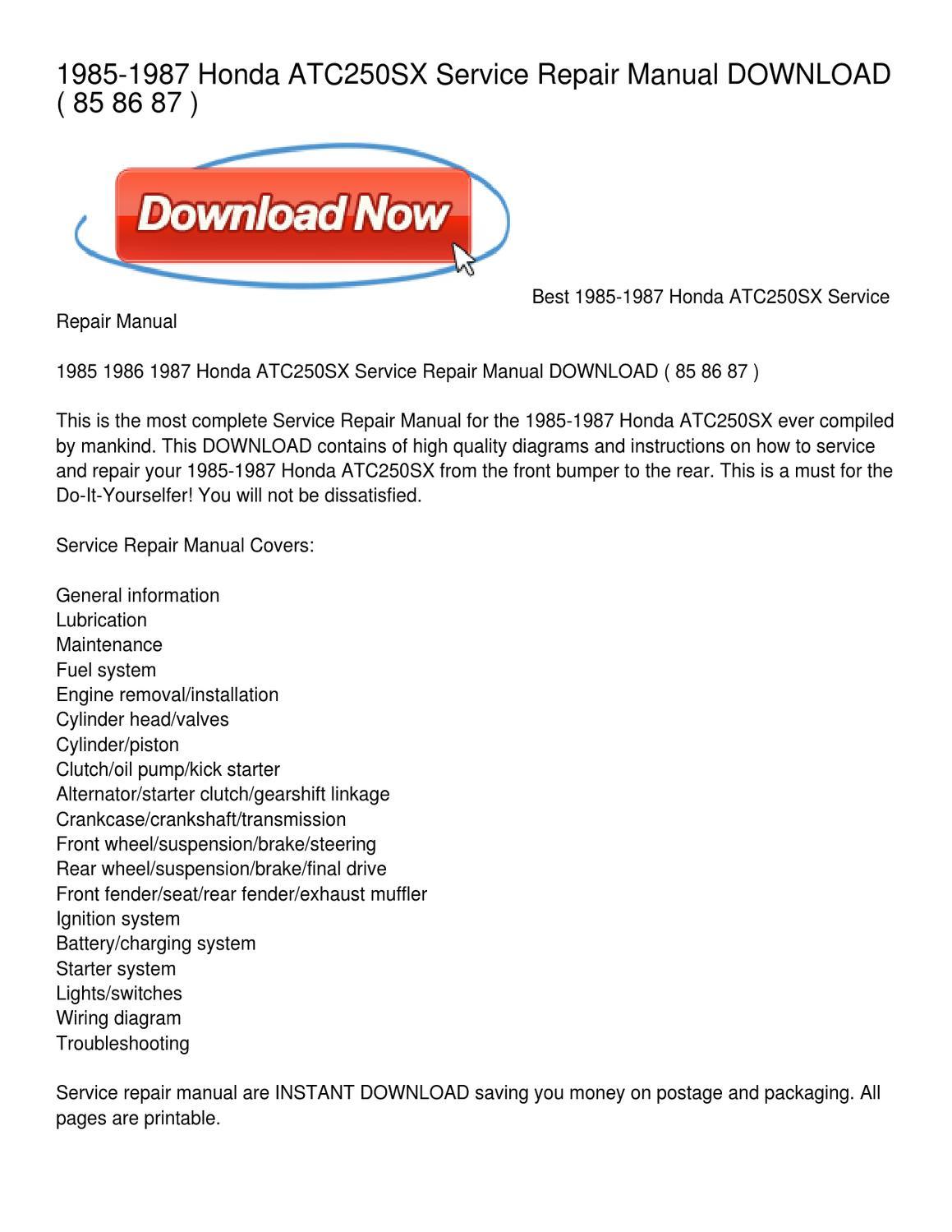 ... 1985 1987 Honda ATC250SX Service Repair Manual by Leonard Colmenero  issuu