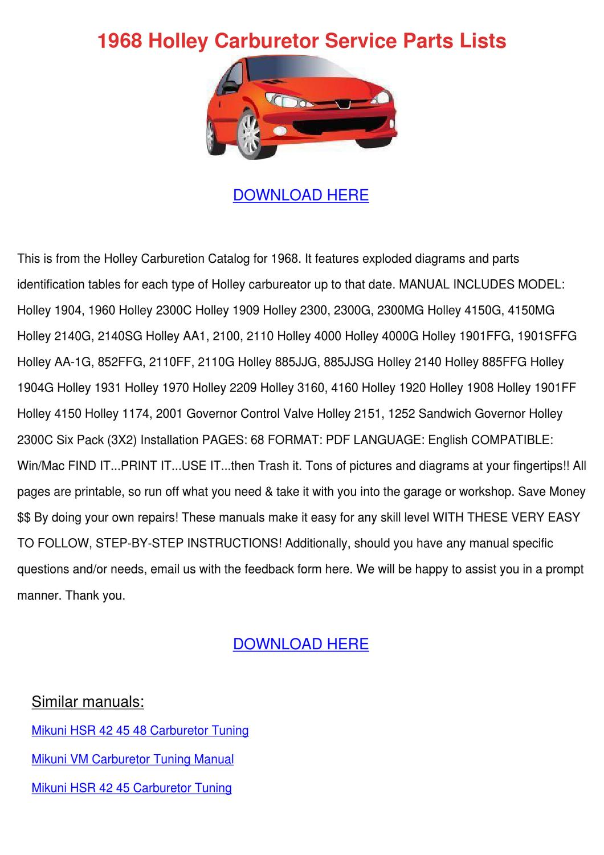 1968 Holley Carburetor Service Parts Lists by Elenor Harter