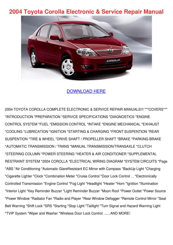2004 Toyota Corolla Electronic Service Repair by Elenor Harter - issuu