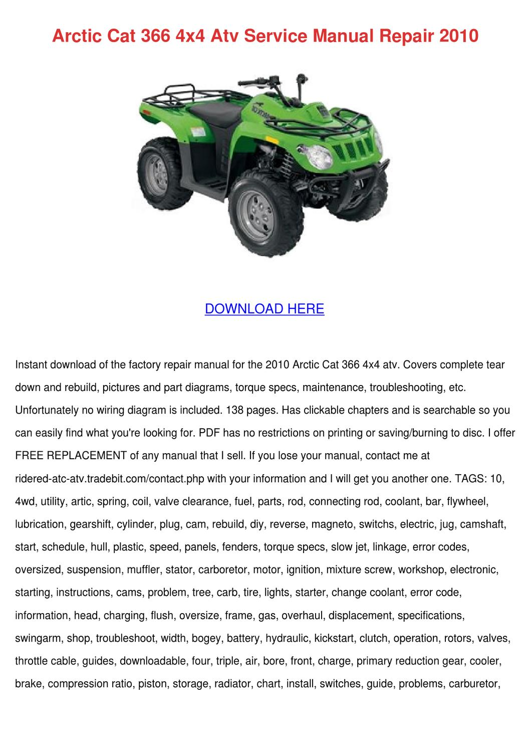 arctic cat 366 4x4 atv service manual repair by elenor. Black Bedroom Furniture Sets. Home Design Ideas