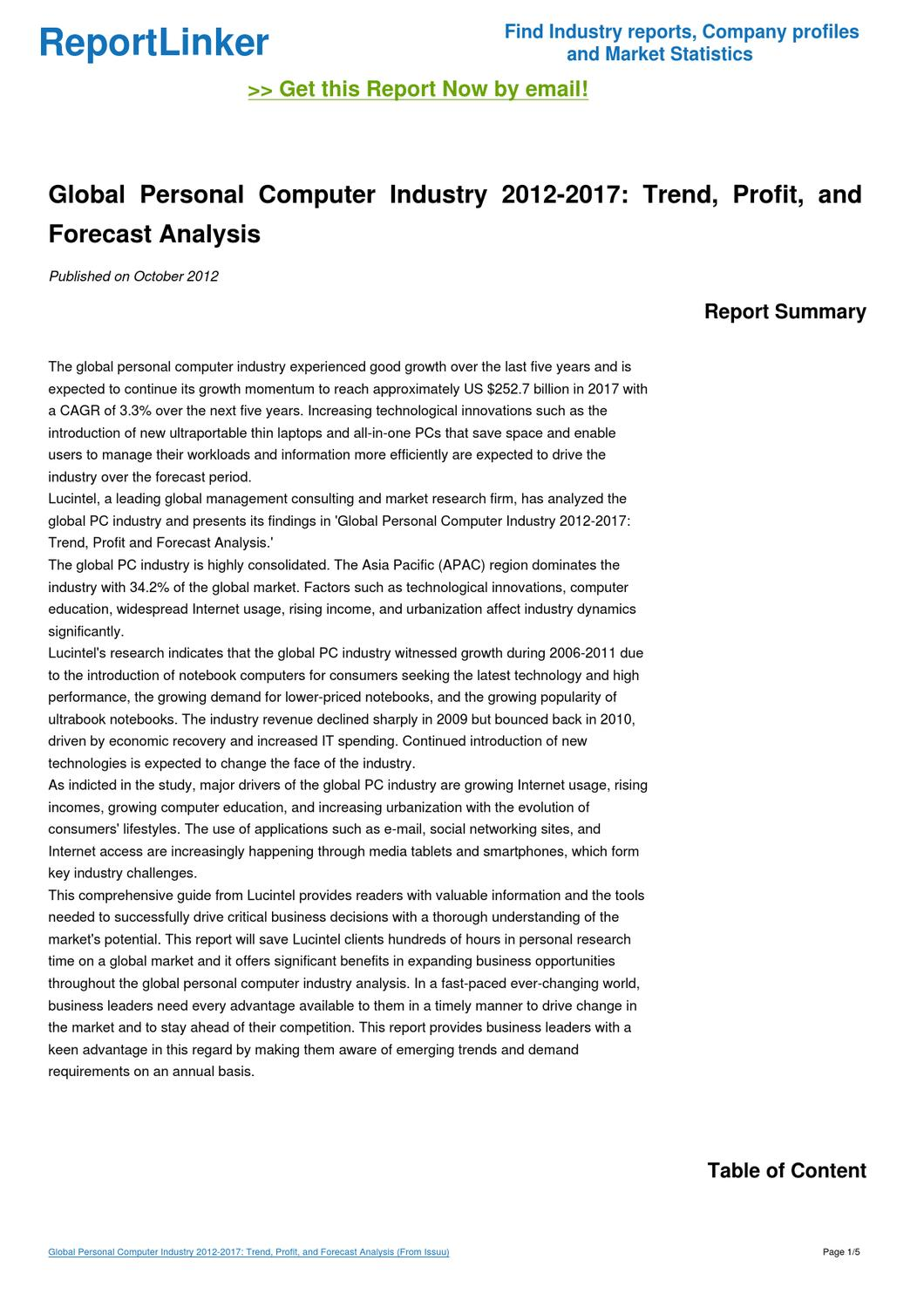 an analysis of the german market for personal computers Market research and statistics on germany export markets have made the german economy perform levels of research and analysis for major and.