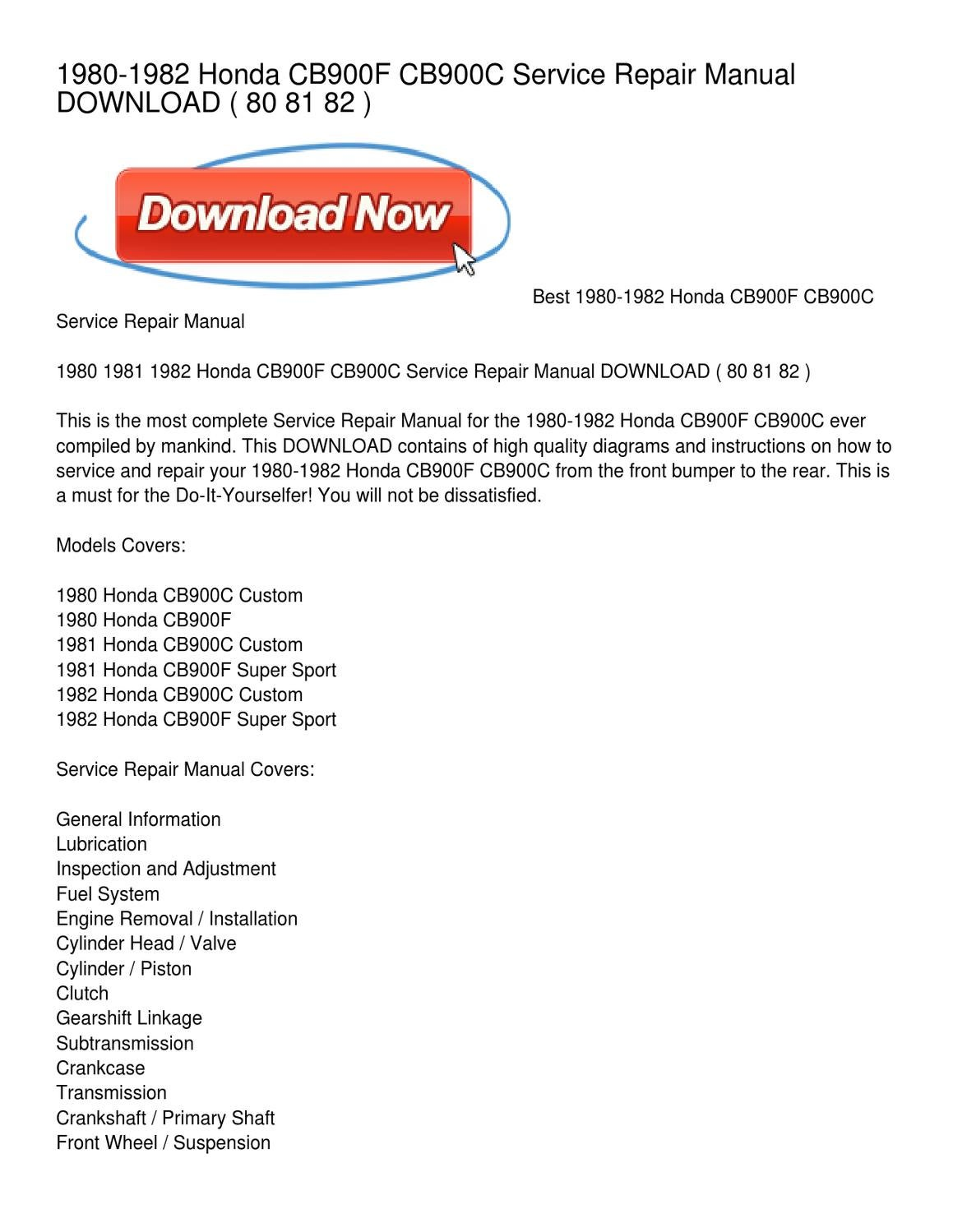 Diagram Honda Cb900 Trusted Schematics 1981 Wiring 1980 1982 Cb900f Cb900c Service Repair Manual Download By Cafe Racer
