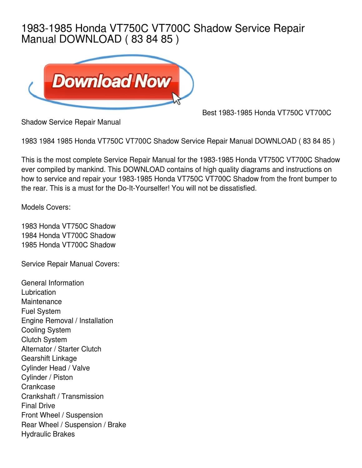 1983 1985 Honda Vt750c Vt700c Shadow Service Repair Manual Download 1984 700 Wiring Diagram By Thomas Pratt Issuu