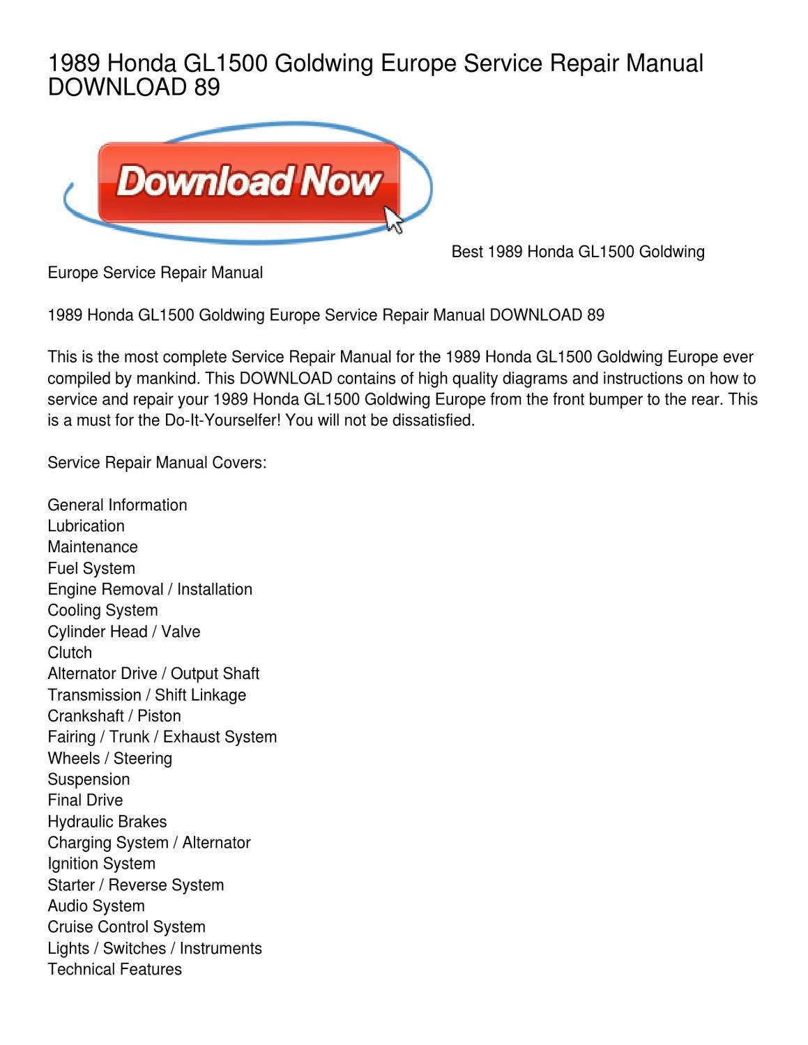 1989 Honda Gl1500 Goldwing Europe Service Repair Manual Download 89 Cruise Control Diagram By Stephen Whitfield Issuu