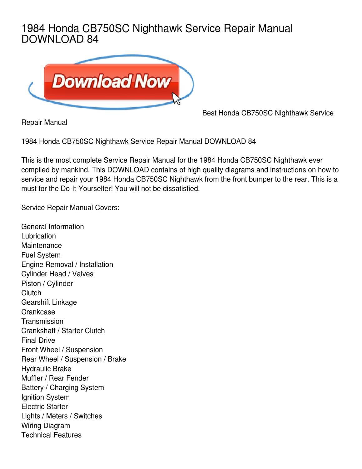 1984 honda cb750sc nighthawk service repair manual download 84 by rh issuu com