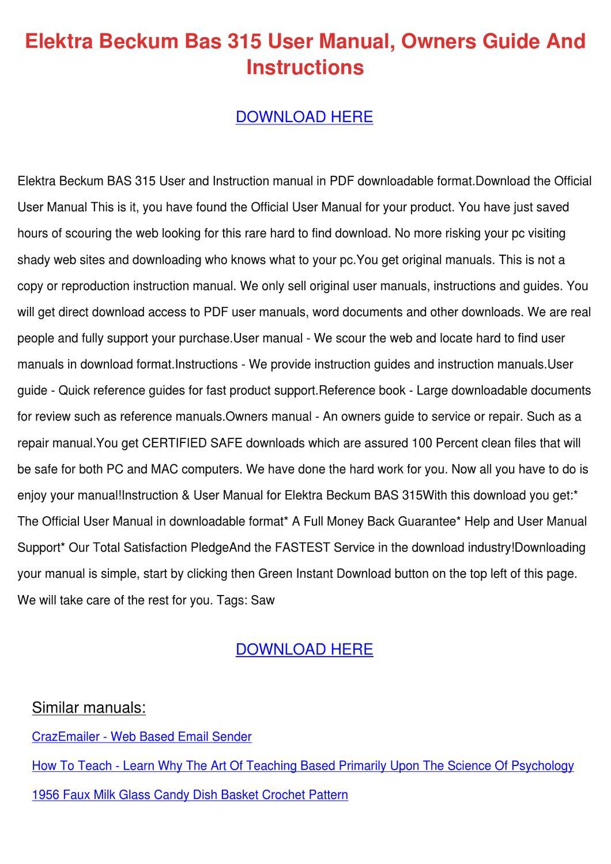 Elektra Beckum Bas 315 User Manual Owners Gui by Gertha Dowless ...