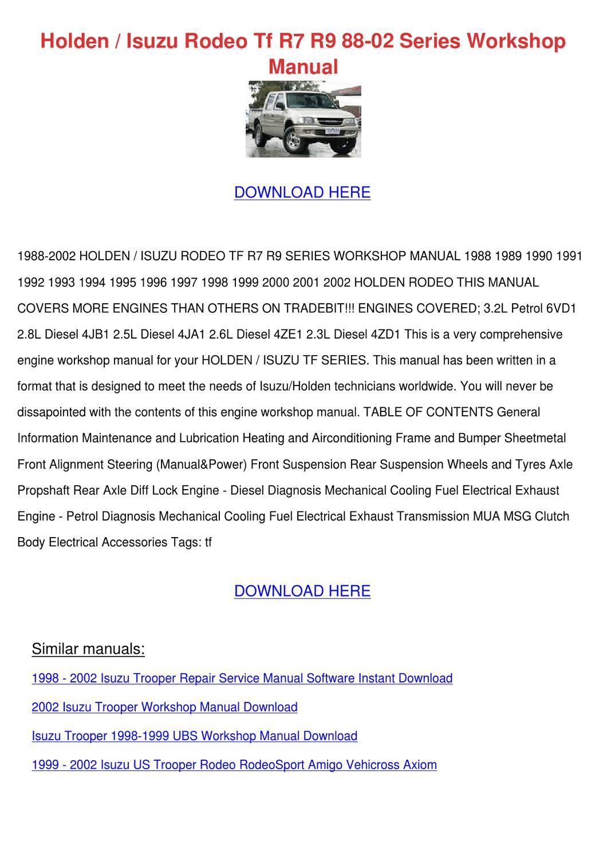 Holden Isuzu Rodeo Tf R7 R9 88 02 Series Work by Deena