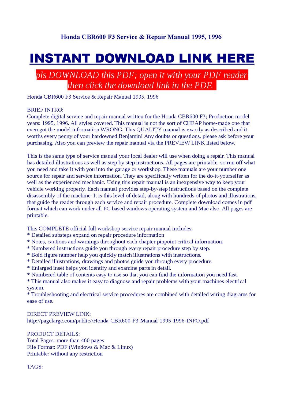 Honda Cbr600 F3 Service Repair Manual 1995 1996 By Jast Liy Issuu Cbr600rr Turn Signal Wiring Diagram