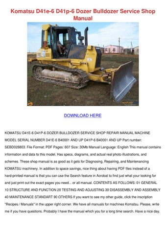 komatsu d41e 6 d41p 6 dozer bulldozer service by rosetta. Black Bedroom Furniture Sets. Home Design Ideas
