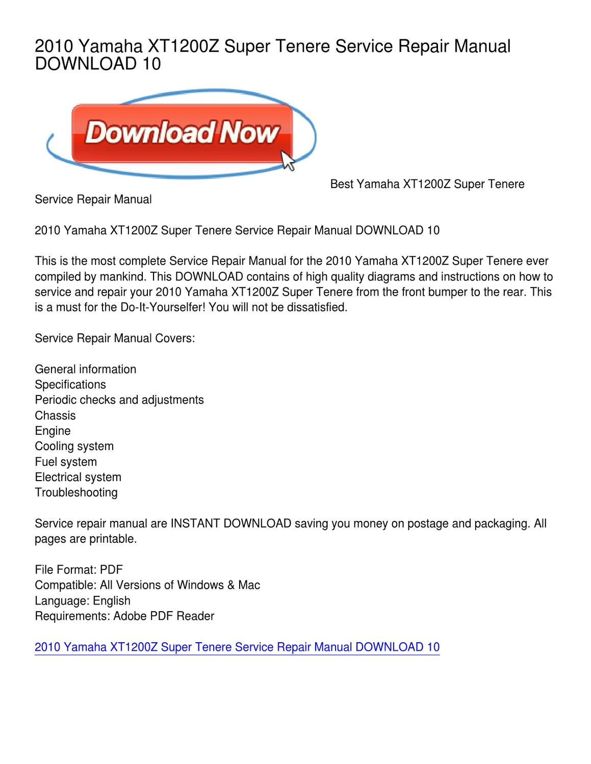 2010 Yamaha XT1200Z Super Tenere Service Repair Manual DOWNLOAD 10 by  Cynthia Marshall - issuu
