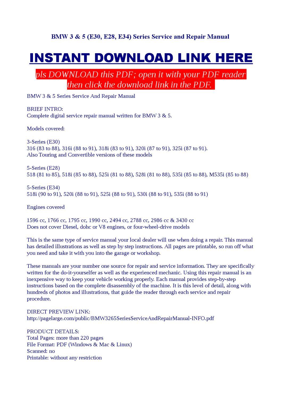 BMW 3 & 5 (E30, E28, E34) Series Service and Repair Manual by Kas Bilag -  issuu