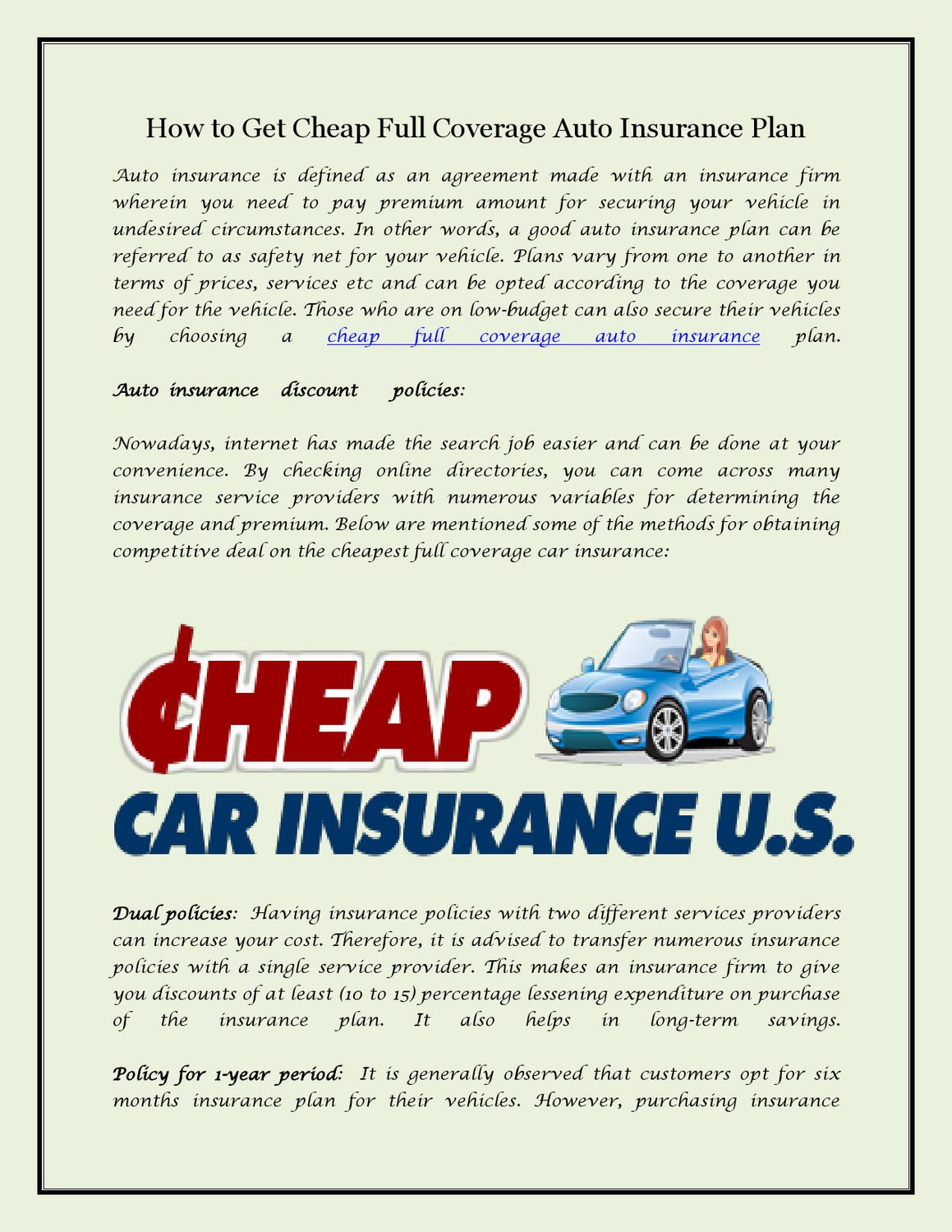 How to Get Cheap Full Coverage Auto Insurance Plan by ...