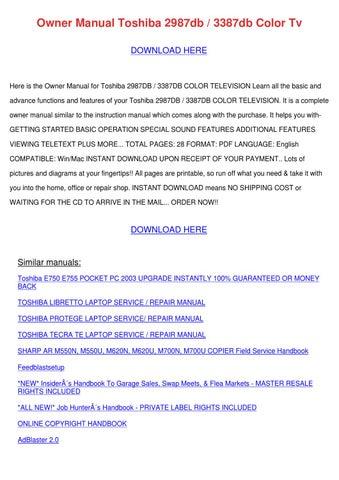 Owner Manual Toshiba 2987db 3387db Color Tv by Bryanna Hammarlund