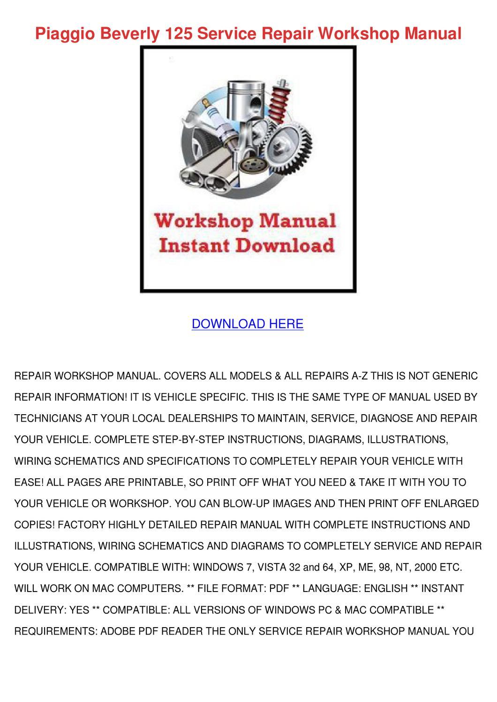 piaggio vespa gts250 motorcycle workshop factory service repair manual
