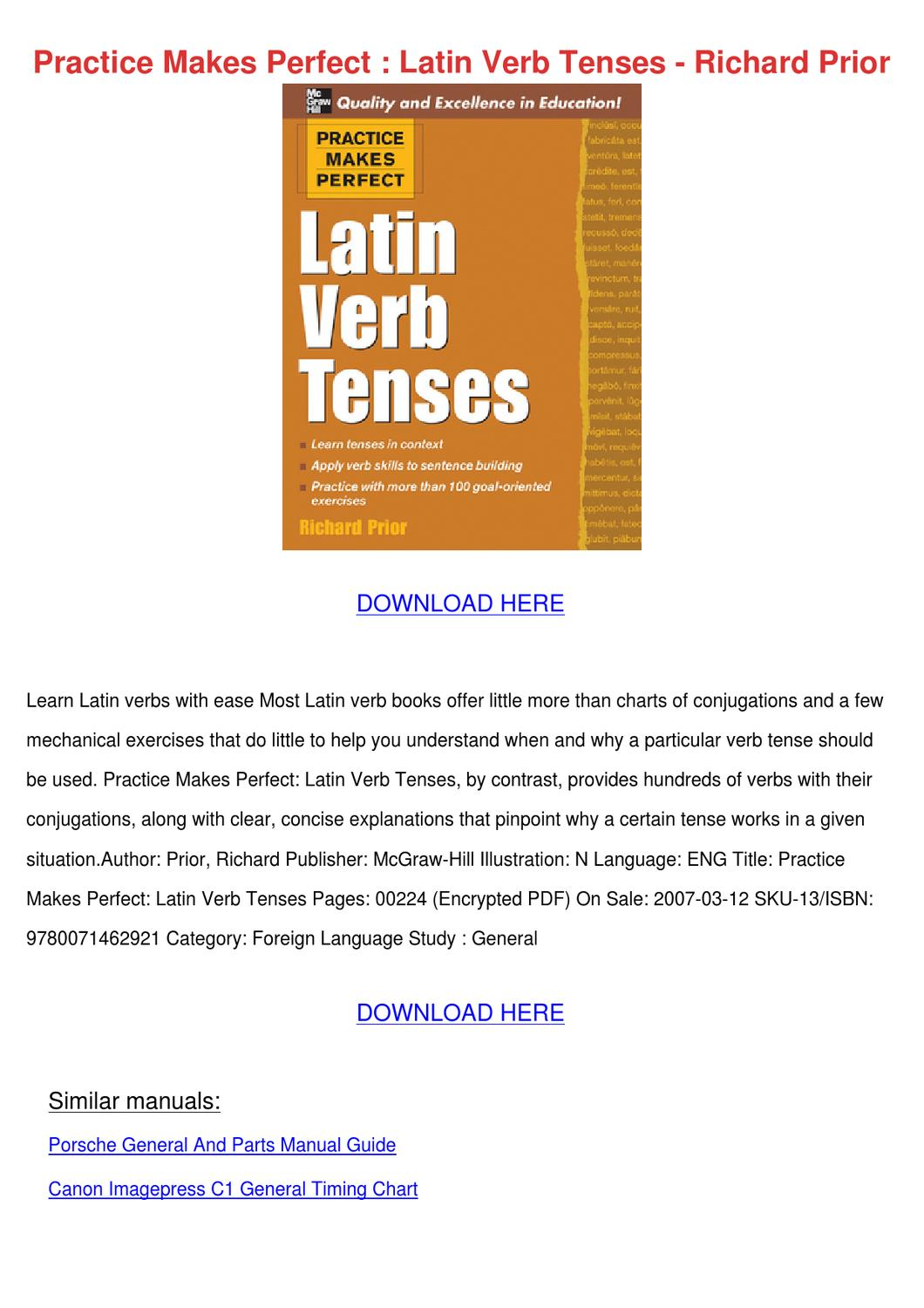 Practice Makes Perfect Latin Verb Tenses Rich by Bryanna ...