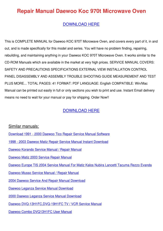 Repair Manual Daewoo Koc 970t Microwave Oven by Bryanna Hammarlund - issuu