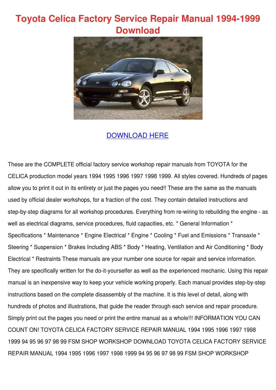 Toyota Celica Factory Service Repair Manual 1 by Tashia Simar - issuu