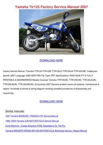 yamaha ttr125 factory service manual 2007 by tashia simar issuu