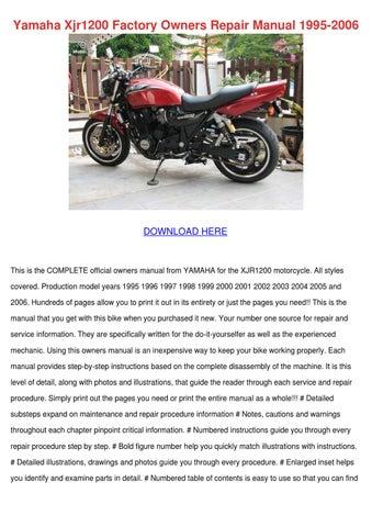 yamaha xjr1200 factory owners repair manual 1 by tashia simar issuu rh issuu com yamaha xjr 1200 service manual pdf yamaha xjr 1200 owners manual download